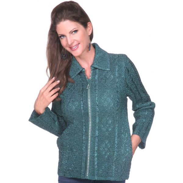 Wholesale Diamond Zipper Jackets Hunter Green Diamond Zipper Jacket	 - One Size Fits  (S-L)
