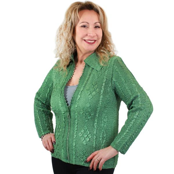 Wholesale Diamond Zipper Jackets Green Diamond Zipper Jacket	 - One Size Fits (S-L)