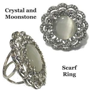"Scarf Rings and Buckles Moonstone and Crystal Scarf Ring (1.75"" round) -"