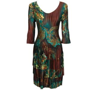 wholesale Satin Mini Pleats - Three Quarter Sleeve Dress Abstract Lilles Copper-Teal  - One Size (S-XL)