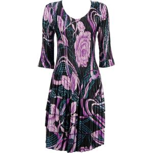 Wholesale  Abstract Floral Purple-Rose Satin Mini Pleats - Three Quarter Sleeve Dress - One Size (S-XL)