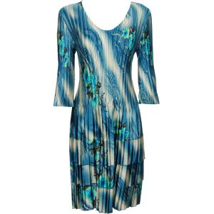 wholesale Satin Mini Pleats - Three Quarter Sleeve Dress Marble Floral - Blue - One Size (S-XL)