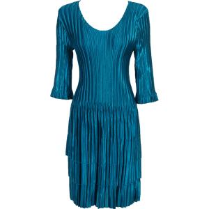 Wholesale  Solid Teal Satin Mini Pleats - Three Quarter Sleeve Dress - One Size (S-XL)