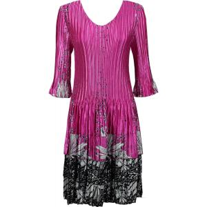 Wholesale  Flowers and Dots 2 Pink-White Satin Mini Pleats - Three Quarter Sleeve Dress - One Size (S-XL)