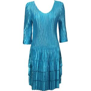 Wholesale  Solid Aqua Satin Mini Pleats - Three Quarter Sleeve Dress - One Size (S-XL)