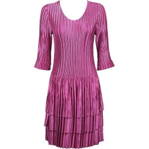 Wholesale  Solid Orchid Satin Mini Pleats - Three Quarter Sleeve Dress - One Size (S-XL)