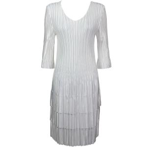 Wholesale  Solid White Satin Mini Pleats - Three Quarter Sleeve Dress - One Size (S-XL)