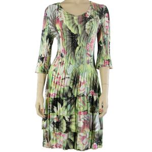 wholesale Satin Mini Pleats - Three Quarter Sleeve Dress Lime-Coral Floral - One Size (S-XL)