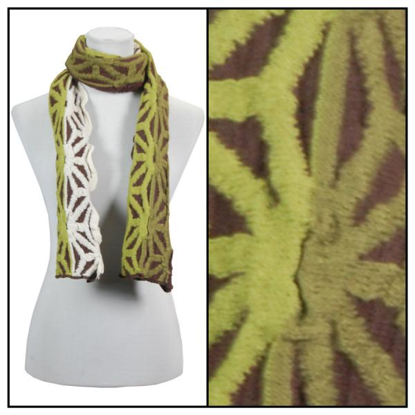 C Oblong Scarves - Embossed Knit 3877* Brown-Olive Oblong Scarves - Embossed Knit 3877* -