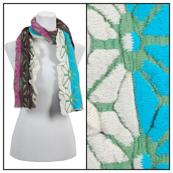 C Oblong Scarves - Embossed Knit 3877* Lime-Blue -