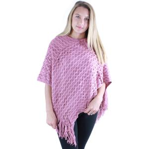 wholesale C Poncho - Wave Overlap Knit 4102* Rose -
