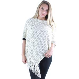 wholesale C Poncho - Wave Overlap Knit 4102* Ivory -