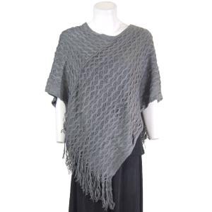 wholesale C Poncho - Wave Overlap Knit 4102* Grey -
