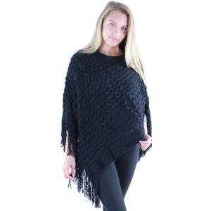 wholesale C Poncho - Wave Overlap Knit 4102* Black - One Size Fits All