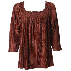 Wholesale  Solid Brown Wave Satin Mini Pleat - Three Quarter Sleeve - One Size Fits All