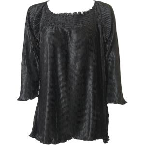 Wholesale  Solid Black Wave Satin Mini Pleat - Three Quarter Sleeve - One Size Fits All