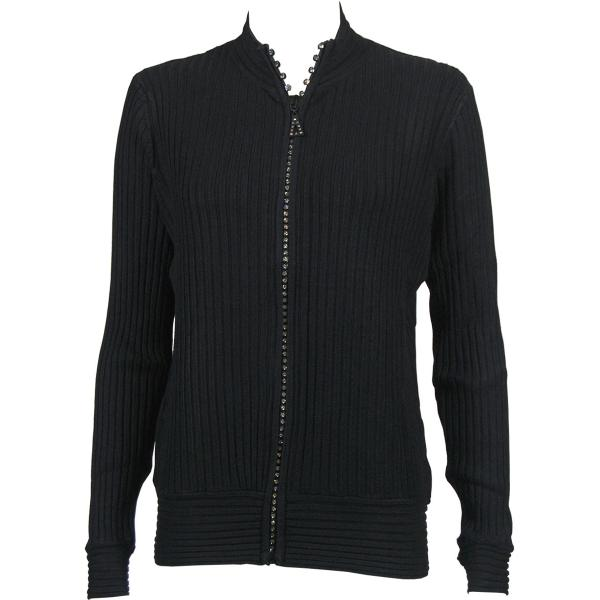 Wholesale Crystal Zipper Sweater* Black Crystal Zipper Sweater - One Size (S-XL)