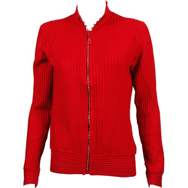 Wholesale Crystal Zipper Sweater* Red Crystal Zipper Sweater - One Size (S-XL)