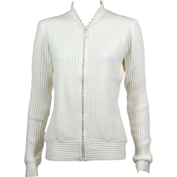 Wholesale Crystal Zipper Sweater* Ivory Crystal Zipper Sweater - One Size (S-XL)