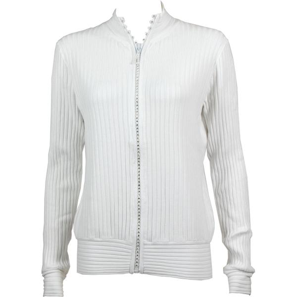 Wholesale Crystal Zipper Sweater* White Crystal Zipper Sweater - One Size (S-XL)