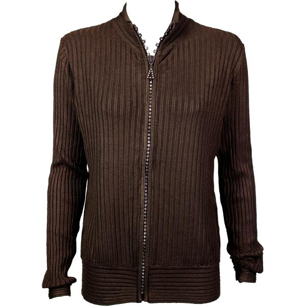 Wholesale Crystal Zipper Sweater* Brown Crystal Zipper Sweater - One Size (S-XL)
