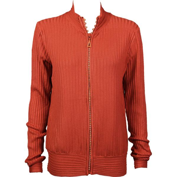 Wholesale Crystal Zipper Sweater* Rust Crystal Zipper Sweater - One Size (S-XL)