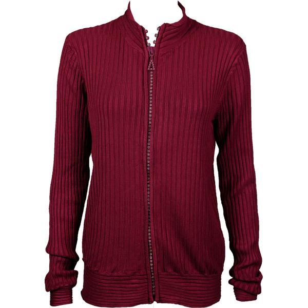 Wholesale Crystal Zipper Sweater* Burgundy Crystal Zipper Sweater - One Size (S-XL)