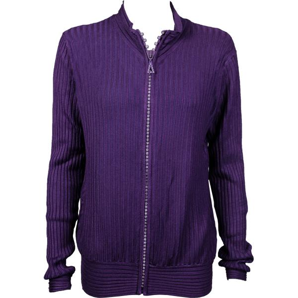 Wholesale Crystal Zipper Sweater* Eggplant Crystal Zipper Sweater - One Size (S-XL)