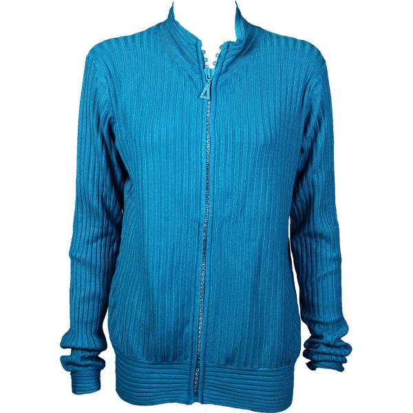 Wholesale Crystal Zipper Sweater* Teal Crystal Zipper Sweater - One Size (S-XL)