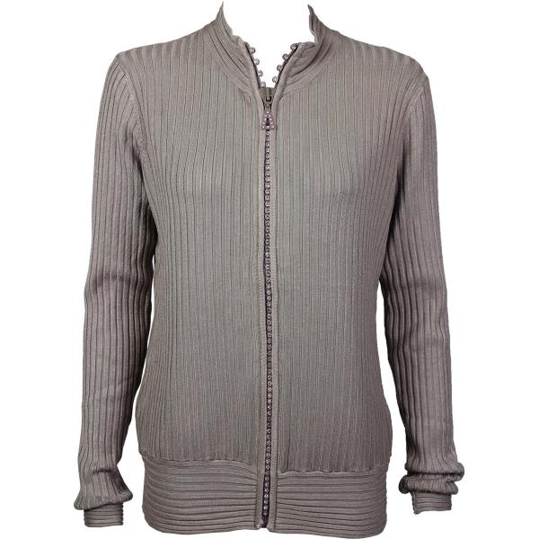 Wholesale Crystal Zipper Sweater* Taupe Crystal Zipper Sweater - One Size (S-XL)