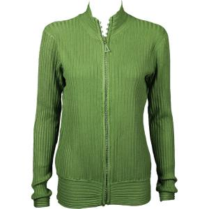 Wholesale  Olive Crystal Zipper Sweater - One Size (S-XL)