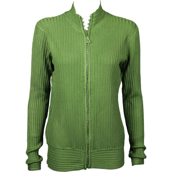Wholesale Crystal Zipper Sweater* Olive Crystal Zipper Sweater - One Size (S-XL)