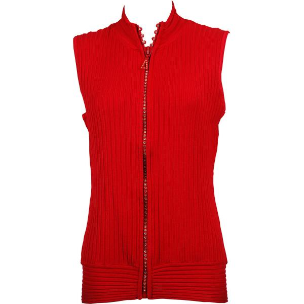 Wholesale Crystal Zipper Sweater Vest* Red - One Size (S-XL)