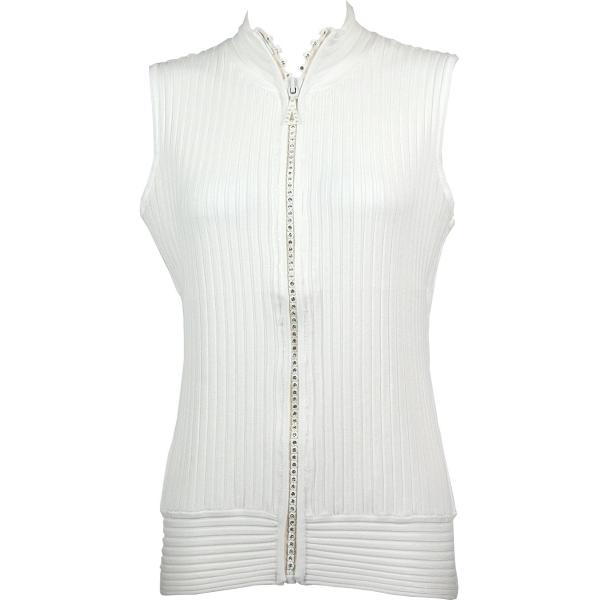 Wholesale Crystal Zipper Sweater Vest* Ivory Crystal Zipper Sweater Vest - One Size (S-XL)