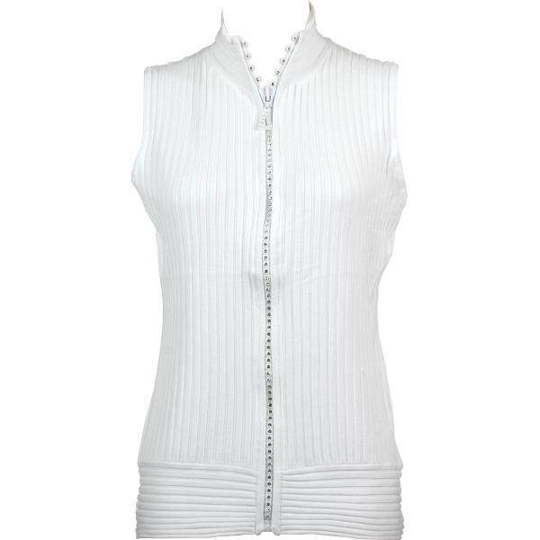 Wholesale Crystal Zipper Sweater Vest* White Crystal Zipper Sweater Vest - One Size (S-XL)