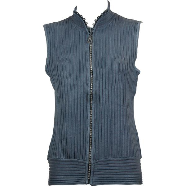 Wholesale Crystal Zipper Sweater Vest* Charcoal Crystal Zipper Sweater Vest - One Size (S-XL)