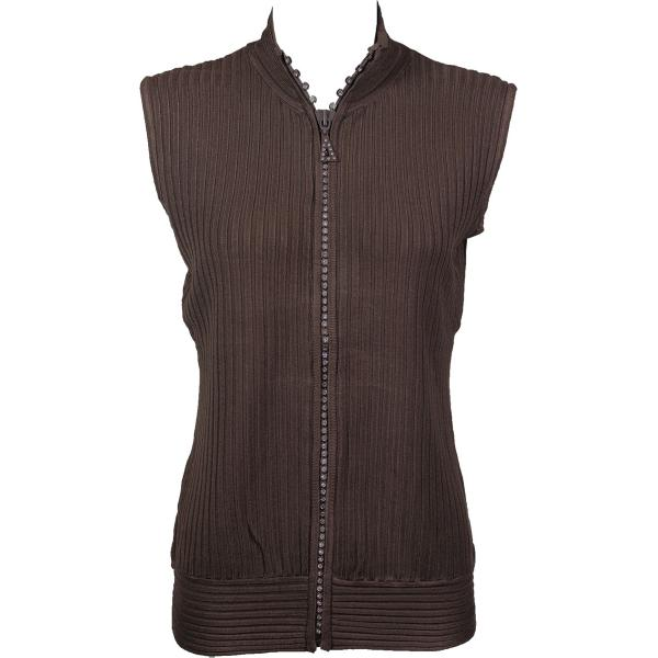 Wholesale Crystal Zipper Sweater Vest* Brown Crystal Zipper Sweater Vest - One Size (S-XL)