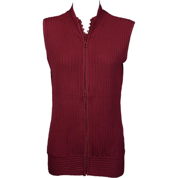 wholesale Crystal Zipper Sweater Vest* Burgundy Crystal Zipper Sweater Vest - One Size (S-XL)