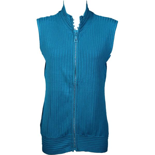 Wholesale Crystal Zipper Sweater Vest* Teal Crystal Zipper Sweater Vest - One Size (S-XL)