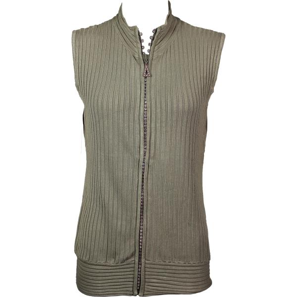 Wholesale Crystal Zipper Sweater Vest* Taupe Crystal Zipper Sweater Vest - One Size (S-XL)
