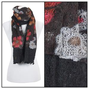 wholesale Oblong Scarves - Flower Pom Pom 2013* Black -