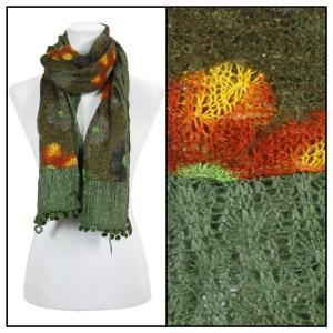 wholesale Oblong Scarves - Flower Pom Pom 2013* Green -