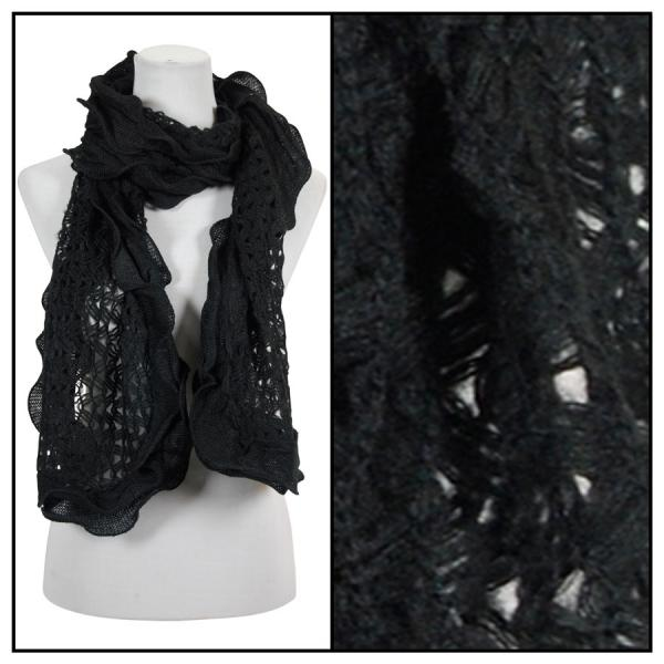 wholesale Oblong Scarves - Scalloped Edge Mohair Style 4069 Black -