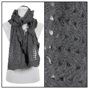 wholesale Oblong Scarves - Scalloped Edge Mohair Style 4069 Grey -