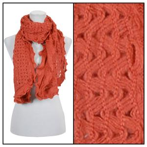 wholesale Oblong Scarves - Scalloped Edge Mohair Style 4069 Orange -
