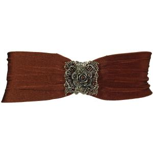 Wholesale  Rose Design - Brown Slinky Stretch Belt - One Size Fits All