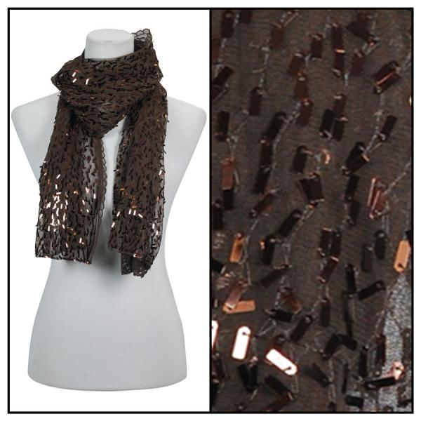 wholesale Oblong Scarves - Glitz Sequined 4120 & 4121* 4120 - Brown -