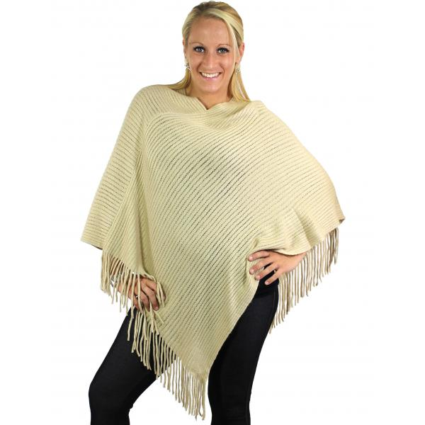 wholesale C Poncho - Cashmere Feel - Knit Ribbed 4105* Beige -