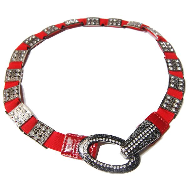 wholesale Crystal Stretch Belts L6051 - Red Crystal Stretch Belt -