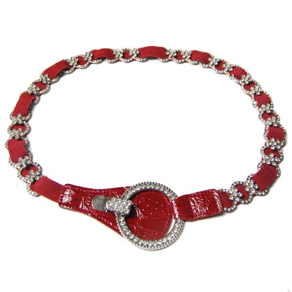 wholesale Crystal Stretch Belts J4143 - Red Crystal Stretch Belt -